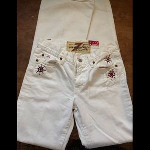 7 For All Mankind Wht Flare Jean/Distressed/Bling